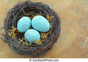 Blue speckled eggs in nest - Blue speckled eggs in woven...