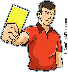 Referee Raise Yellow Card - A referee raising his hand with...
