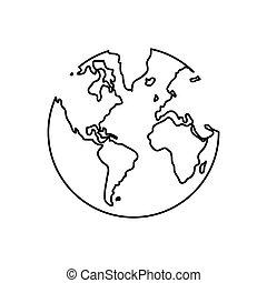 black line earth globe , Vector illustration over white background