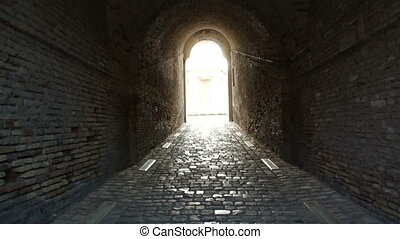 brick corridor walls of the fortres - The passage to the...