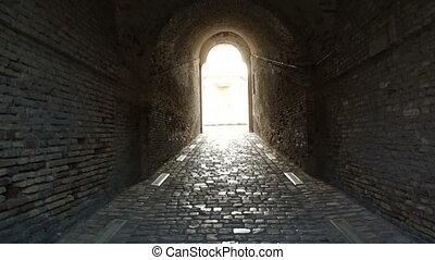 brick corridor walls of the fortres