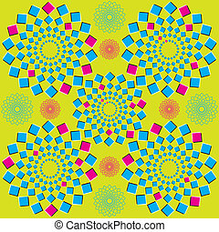 Circle Squares op illusion - Circular patterns of blue and...