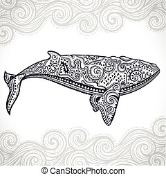 Whale with tribal ornaments - Vector wild Whale with tribal...