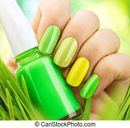 Spring manicure Fresh nature trendy green nails