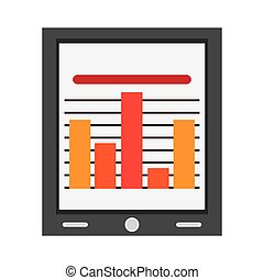 tablet with bar graph , Vector illustration