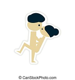paper sticker on white background Kamasutra positions -...