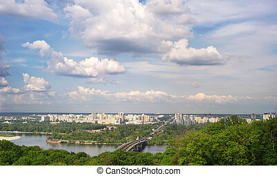 Kyiv - Panorama of Kyiv with Metro bridge. Ukraine