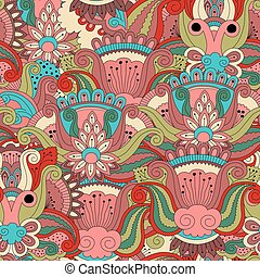 Ornate seamless pattern with flowers, can be used for...