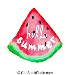 Hello summer hand draw lettering Can use for greeting card,...