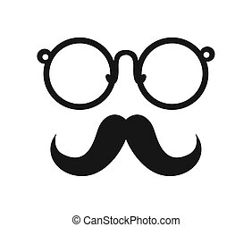 mustache and glasses icon. Hipster style concept, vector...