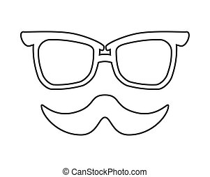 mustache and glasses icon Hipster style concept, vector...