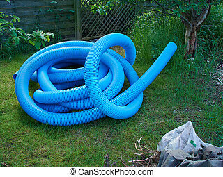 Garden drain pipe made of plastic before installation