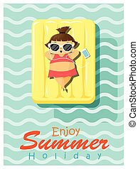 Enjoy tropical summer holiday with little girl 2