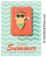 Enjoy tropical summer holiday with little boy 2