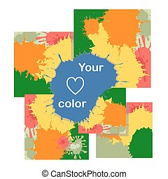 Set of cards with color blots