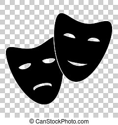 Theater icon with happy and sad masks Flat style black icon...