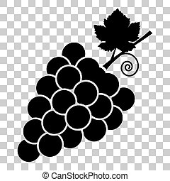 Grapes sign illustration. Flat style black icon on...