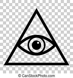 All seeing eye pyramid symbol. Freemason and spiritual. Flat...