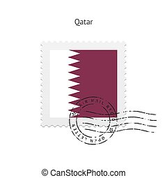 Qatar Flag Postage Stamp - Qatar Flag Postage Stamp on white...