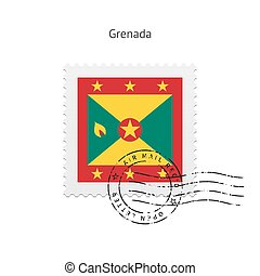 Grenada Flag Postage Stamp - Grenada Flag Postage Stamp on...