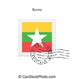 Burma Flag Postage Stamp. - Burma Flag Postage Stamp on...