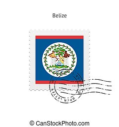 Belize Flag Postage Stamp. - Belize Flag Postage Stamp on...