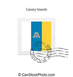 Canary Islands Flag Postage Stamp - Canary Islands Flag...