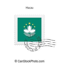 Macau Flag Postage Stamp - Macau Flag Postage Stamp on white...