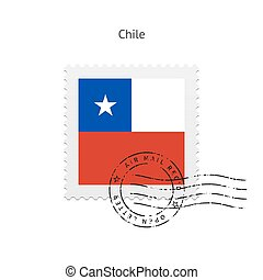 Chile Flag Postage Stamp - Chile Flag Postage Stamp on white...