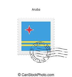 Aruba Flag Postage Stamp - Aruba Flag Postage Stamp on white...