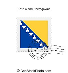 Bosnia and Herzegovina Flag Postage Stamp. - Bosnia and...