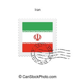 Iran Flag Postage Stamp. - Iran Flag Postage Stamp on white...