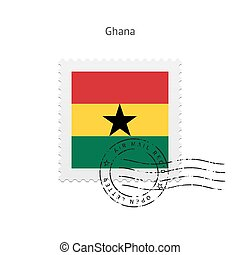 Ghana Flag Postage Stamp - Ghana Flag Postage Stamp on white...