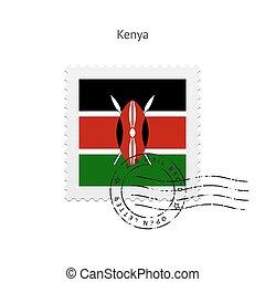 Kenya Flag Postage Stamp - Kenya Flag Postage Stamp on white...