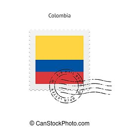 Colombia Flag Postage Stamp - Colombia Flag Postage Stamp on...