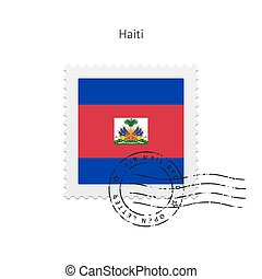 Haiti Flag Postage Stamp - Haiti Flag Postage Stamp on white...