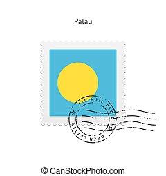 Palau Flag Postage Stamp - Palau Flag Postage Stamp on white...