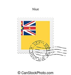 Niue Flag Postage Stamp. - Niue Flag Postage Stamp on white...