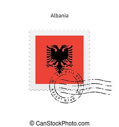 Albania Flag Postage Stamp - Albania Flag Postage Stamp on...