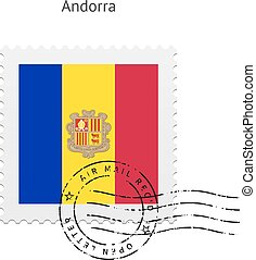 Andorra Flag Postage Stamp. - Andorra Flag Postage Stamp on...