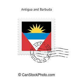 Antigua and Barbuda Flag Postage Stamp. - Antigua and...