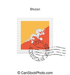Bhutan Flag Postage Stamp. - Bhutan Flag Postage Stamp on...