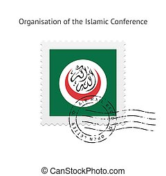 Organisation of the Islamic Conference Flag Postage Stamp. -...