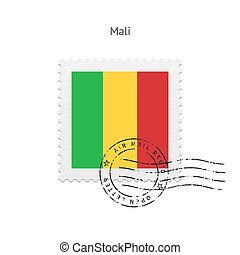 Mali Flag Postage Stamp - Mali Flag Postage Stamp on white...