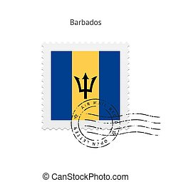 Barbados Flag Postage Stamp - Barbados Flag Postage Stamp on...