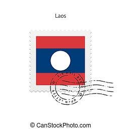 Laos Flag Postage Stamp. - Laos Flag Postage Stamp on white...