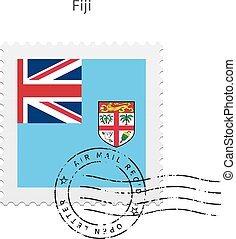 Fiji Flag Postage Stamp. - Fiji Flag Postage Stamp on white...
