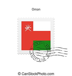 Oman Flag Postage Stamp. - Oman Flag Postage Stamp on white...