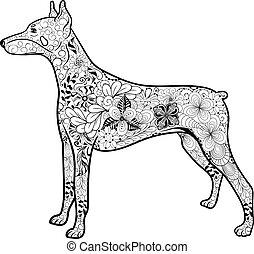 """Doberman Dog doodle - Illustration """"Doberman Dog"""" was..."""