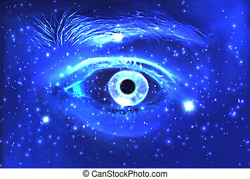 Man Eye and cosmic space with stars. abstract color background,  contact